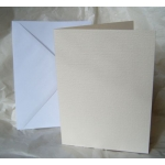 12 Card Blanks & C5 Envelopes. CREAM. Hemp Texture. 150mm x 203mm