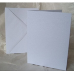 12 Card Blanks & C5 Envelopes. WHITE. Hemp Texture. 150mm x 203mm