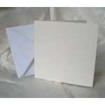 50 Square Card Blanks & Envelopes. CREAM. Hemp texture. 144mm x 144mm