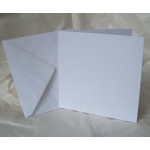 12 Square Card Blanks & envelopes. WHITE. Hemp texture. 144mm x 144mm