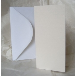 12 Card Blanks & DL Envelopes. CREAM. Hemp Texture.100mm x 210mm