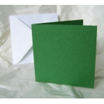 12 Mini Square Card Blanks & Envelopes. GREEN, Hammer texture. 100mm x 100mm