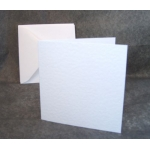 12 Mini Square Card Blanks & Envelopes. WHITE, Hammer Texture. 100mm x 100mm