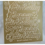 Peel Offs. HAPPY BIRTHDAY. Lge text. GOLD #556