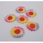 100 Mulberry Paper Flowers. Flat. 15mm. RAINBOW.