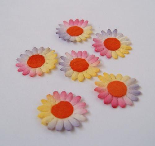 100 mulberry paper flowers flat 15mm rainbow mightylinksfo