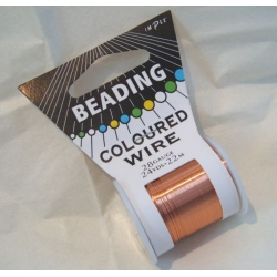 22m Spool Beading Wire 28 gauge, COPPER
