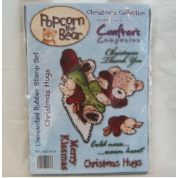 Unmounted Rubber Stamp Set  POPCORN THE BEAR Christmas Hugs. A6