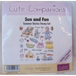 Unmounted Rubber Stamps Set CUTE COMPANIONS Summer Stories SUN & FUN