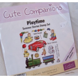 Unmounted Rubber Stamp Set CUTE COMPANIONS Summer Stories. PLAYTIME