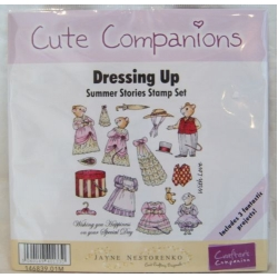 Unmounted Rubber Stamp Set CUTE COMPANIONS Summer Stories. DRESSING UP
