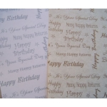 6 Sheets BIRTHDAY Backing Papers. PARCHMENT STYLE. A4. Silver/White, Brown/Cream.