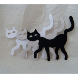 12 Large Diecut Shapes. CATS. Slinky Felines. BLACK, WHITE, GREY