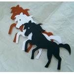12 Large DieCut Shapes. HORSES. Brown/White/Black