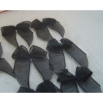 Pack 12 Organza Ribbon Bows, Self Adhesive, BLACK.