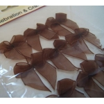 Pack 12 Organza Ribbon Bows, Self Adhesive, CHOCOLATE BROWN