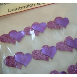 Pack 12 Glitter Double Heart Embellishments, Self Adhesive. PURPLE