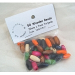 Wooden Beads Torpedo 7mm x 15mm ASSORTED