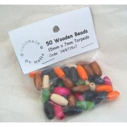 Wooden Beads Torpedo 7mm x 15mm ASSORTED