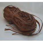 Bundle of NATURAL RAFFIA. Coloured CHOCOLATE BROWN. 50g