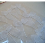 Pack 12 Organza Ribbon Bows, Self Adhesive, WHITE