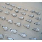 Pack 48 CLEAR/SILVER Teardrop bling rhinestone faux gems. Self Adhesive 12mm