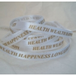 25m Reel.  6mm Satin Ribbon. 5 BLESSINGS. GOLD on WHITE.  Health Wealth Happiness Long Life Fertility.