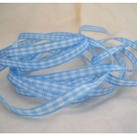 20m Reel.  5mm GINGHAM Check. BLUE & WHITE