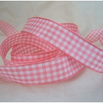 20m Reel. GINGHAM Country Check Ribbon 15mm wide. PINK & WHITE