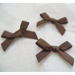 Ribbon Bows. 30mm Satin. CHOCOLATE BROWN.  QTY: 24