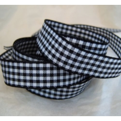 By The Metre...15mm GINGHAM Check. BLACK & WHITE