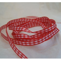 20m Reel. GINGHAM Country Check Ribbon 5mm wide. RED & WHITE. Ideal Folk Art