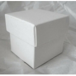 "Pack of 10. Cube Box 2"" (52mm) WHITE SILK. Two-piece"