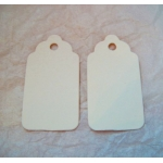 Medium Scalloped TAGS. 63mm.  Ideal Place cards/Favour tags. CREAM, Smooth. QTY: 20