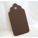 Medium Scalloped TAGS. 63mm.  Ideal Place cards/Favour tags. CHOC BROWN, Smooth. QTY: 20