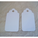 Medium Scalloped TAGS. 63mm.  Ideal Place cards/Favour tags. WHITE, Smooth. QTY: 20