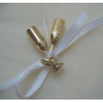 Champagne Flute Tie-on Embellishments.  GOLD.  Qty:8