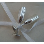 Champagne Flute Tie-on Embellishments.  SILVER.  Qty:8