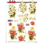 3D Decoupage Sheet.  ROSES White red 777021