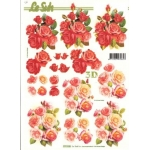 3D Decoupage Sheet.  ROSES red Pinks 777133