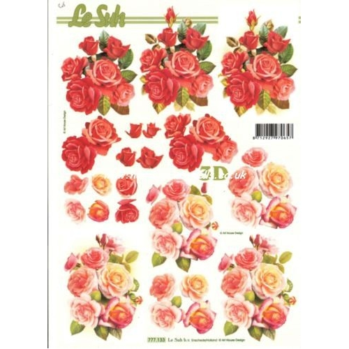 Extrêmement 3D Decoupage Sheet. ROSES red Pinks 777133 FT53