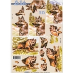3D Decoupage Sheet DOGS Alsation, German Shepherd