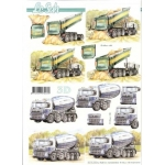 3D Decoupage Sheet TRUCKS Tipper, Concrete Mixer