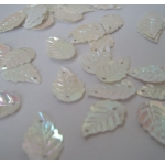 Mini Leaf Sequins WHITE Mother of Pearl Sew, Craft, Table Confetti