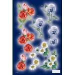 3D Die Cut Decoupage Sheet, FLORAL. Rose Pansy Marguerite in Colour