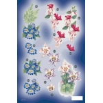 3D Die Cut Decoupage Sheet FLORAL. Fuchsia, Aguilegia in Colour