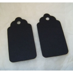 Medium Scalloped TAGS. 63mm.  Ideal Place cards/Gift tags. BLACK. QTY: 20