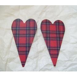 PRIMITIVE HEART DieCut Shaped Emb. (Sml). TARTAN RED.  Qty: 20