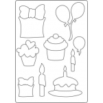 A4 Totally Themed Template BIRTHDAY Cupcake, balloons