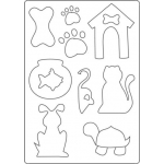 A4 Totally Themed Template PETS Dog, cat, Bone, kennel, goldfish
